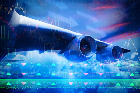 non stock: Composite 3d image of graphic airplane against stocks and shares
