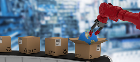 Low angle view of 3D red robot arm with black claw against full store room Stock Photo