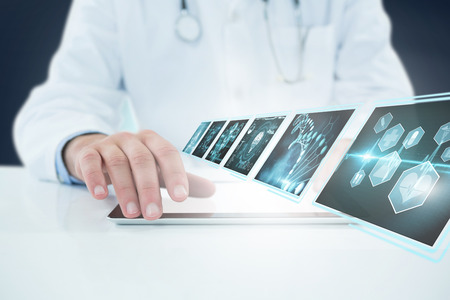 smart man: Doctor using digital 3D tablet against white background against various icons on device screens