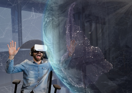 girls night out: Digital composite of Surprised man in VR headset looking at a 3D planet against sky background