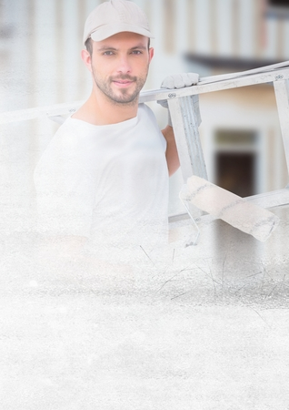 Digital composite of Painter holding ladder on building site with transition effect Stock Photo