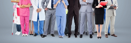well dressed woman: Digital composite of Group of People  with various job careers standing with grey background Stock Photo