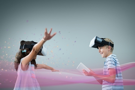 Digital composite of Kids in VR headset playing against grey background with pink lights