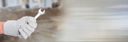 切り替え効果を持つサイトを構築にスパナを手のデジタル合成 写真素材