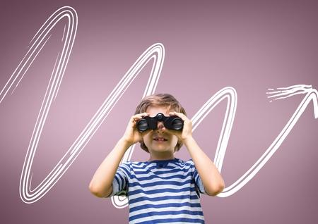 Digital composite of Boy looking through binoculars against pink background with arrow