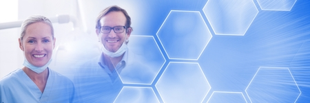 Digital composite of Two dentists smiling and blue smart tech transition