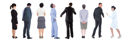 Digital composite of Group of Business People standing with white background