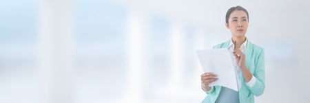 paper sheet: Digital composite of Woman holding files Stock Photo