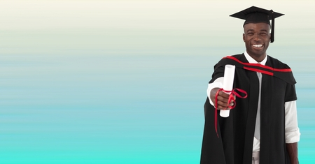 Digital composite of Graduate man smiling against blurry blue background