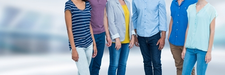 Digital composite of Group of People standing in bright blurred space