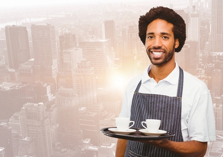white coat: Digital composite of Restaurant owner with coffee cups against blurry skyline