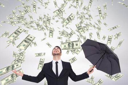 흰색 배경에 돈 비가 찾고 행복 비즈니스 남자의 디지털 합성 스톡 콘텐츠