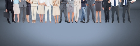 Digital composite of Group of Business People standing with blue vignette background