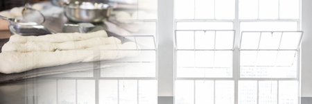 clothing store: Digital composite of kitchen pastry baking transition with windows