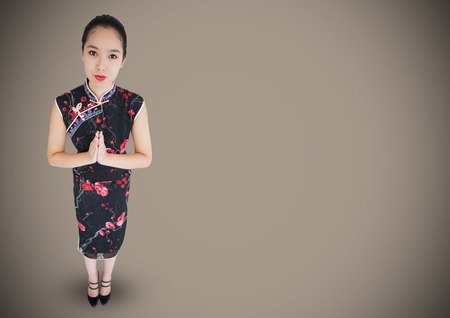 Digital composite of Overhead of geisha against brown background Stock Photo