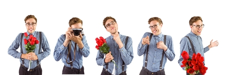 dating strategy: Digital composite of Nerd holding flowers and a camera collage