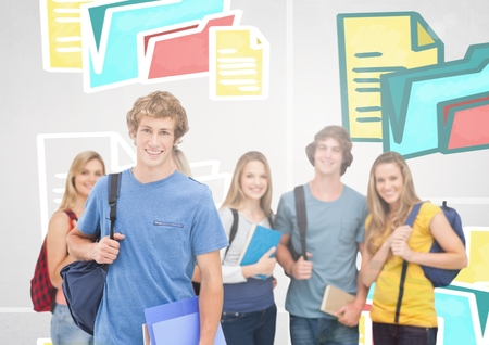 floorboards: Digital composite of Group of students standing in front of colorful folders and files graphics Stock Photo