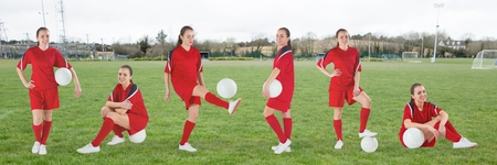 Digital composite of Woman playing soccer collage against soccer field