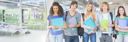 higher intelligence: Digital composite of Students in front of college studios background