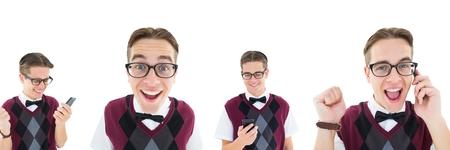 Digital composite of Excited nerd man collage