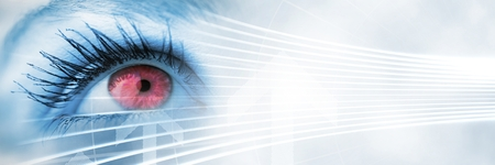Digital composite of Close up of eye with pink iris and white smart tech transition Imagens