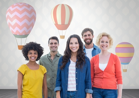 floorboards: Digital composite of Group of people standing in front of hot air balloons Stock Photo