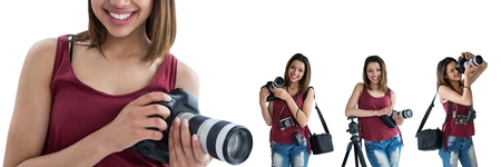 Digital composite of Photographer holding the camera collage Stock Photo
