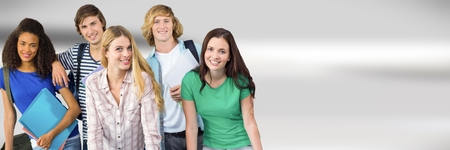 higher intelligence: Digital composite of Students in front of blurred background