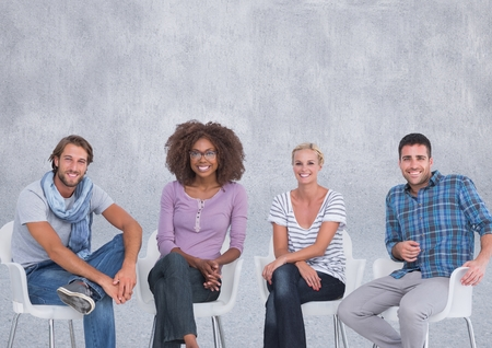 Digital composite of Group of people sitting in front of grey background Stock Photo