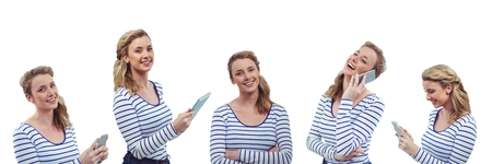 Digital composite of Happy woman collage Stock Photo