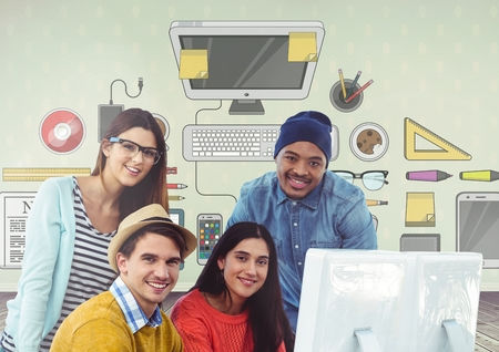 Digital composite of Group of people on computer in front of office desk graphics