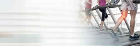 Digitale composiet van Running on loopbanden in Gym met overgang Stockfoto