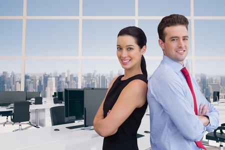 let s: Digital composite of Happy business people standing Stock Photo