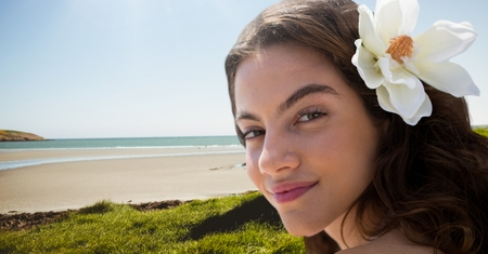 higher intelligence: Digital composite of Woman at the beach smiling