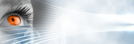 Composite numérique de Gros plan de l'?il en niveaux de gris avec iris orange et blanc transition de technologie intelligente Banque d'images - 82481107