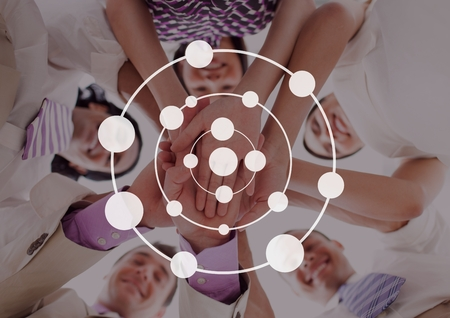 Digital composite of Connection circle icon against friends photo Stock Photo