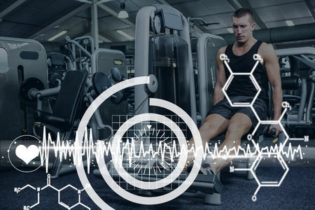Digital composite of Medical interface against man exercising photo