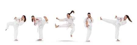 punched out: Digital composite of Woman doing martial arts collage