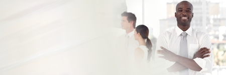 Digital composite of Business people in office with transition effect Stock Photo