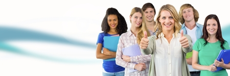 Digital composite of Students with teacher in front of blurred background