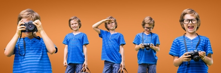 carrying: Digital composite of Happy boy collage against orange background