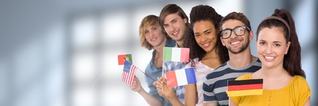 Digital composite of International Students in front of blurred background