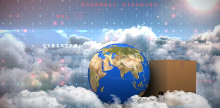 3D planet Earth and cardboard box against white background against image of malware detected server over cloudy sky
