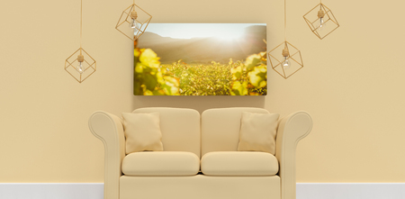 greenness: 3d illustration of yellow sofa with cushions against greenness field of grapevine