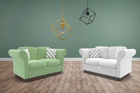 floorboards: 3d image of pendant light against room with wooden floor