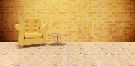 indulgence: Yellow armchair by table on hardwood floor  against yellow wall Stock Photo