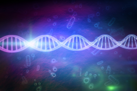 Close up of 3d DNA  against digital image of virus and bacteria Stock Photo