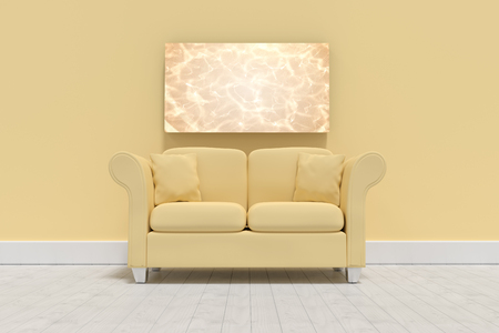 furniture design: 3d illustration of yellow sofa with cushions on floor against white pool under bright light