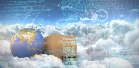 Composite image of binary codes against composite image of interface connecting lines over clouds