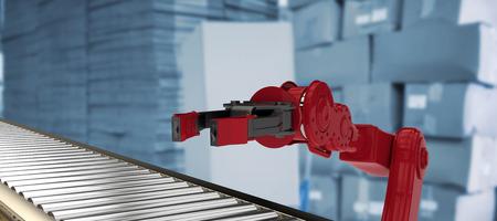 3D image of conveyor belt against red car
